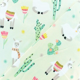 Oeko-tex jersey fabric - Lama light green x 10cm