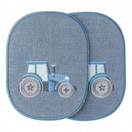 Coudières genouillères thermocollantes Tracteur - bleu