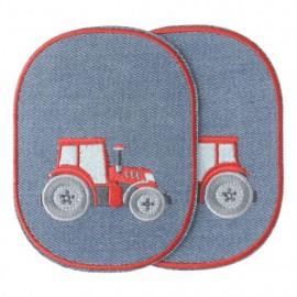 Coudières genouillères thermocollantes Tracteur - rouge