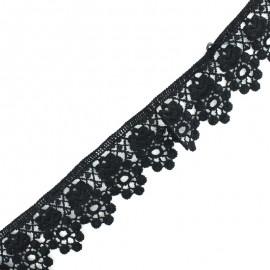 Ruban guipure dentelle Ophelia - noir x 1m