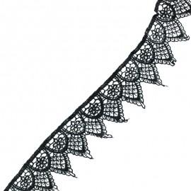 Ruban guipure dentelle Ornato - noir x 1m