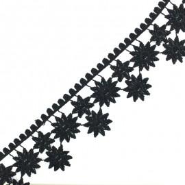 Lace guipure - black Marguerite x 1m