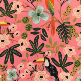 Rayon fabric Cotton Steel - Menagerie - Paradise garden coral x 10cm