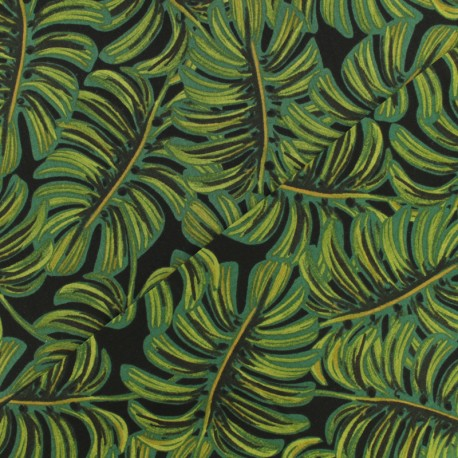 Rayon fabric - Cotton Steel Monstera midnight x 10cm