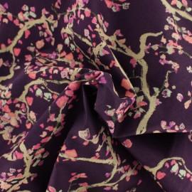Tissu voile de coton AGF - Enchanted leaves plum x 10cm
