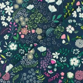 Tissu coton AGF Blooming ground luscious - bleu x 10cm