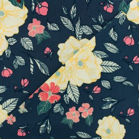 Tissu coton AGF Flowery chant gentle - bleu x 10cm