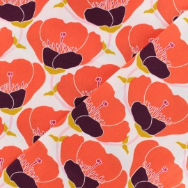 AGF cotton fabric - red Nesting blooms x 10cm