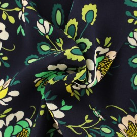 ♥ Coupon tissu 110 cm X 135 cm ♥ rayonne AGF Stenciled petals floralia - marine