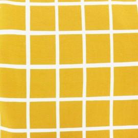 Organic light sweatshirt fabric - yellow Carreau x 20 cm