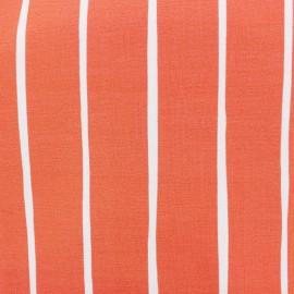 Tissu bio sweat léger Eva Mouton Rayure - corail x 20 cm