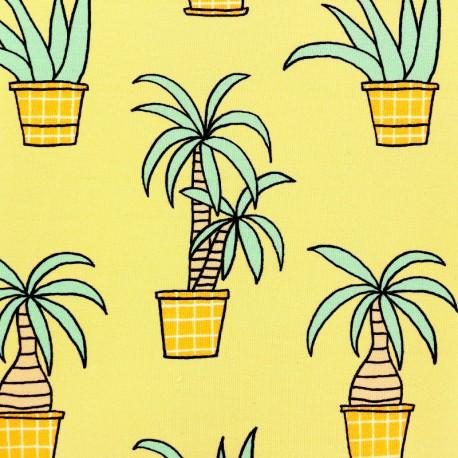 Tissu bio sweat léger Eva Mouton Plante exotique - jaune x 20 cm