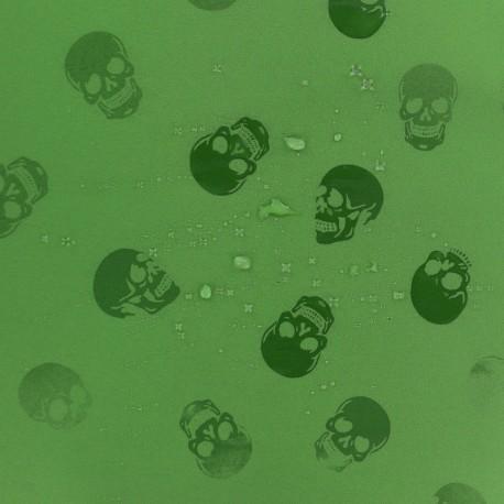 Tissu Softshell hydrosensible tête de mort - vert anis x 10cm