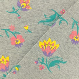 Tissu sweat léger Puff Flower - gris x 20 cm