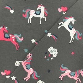 Tissu jersey Unicorn Madness - gris x 10cm