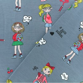 Jersey fabric - grey Back to School x 10cm