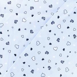 Stretch Poplin Fabric - sky blue Stripe and Heart x 10cm