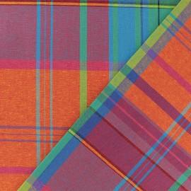 Madras A checked cotton fabric - orange/green x 10cm