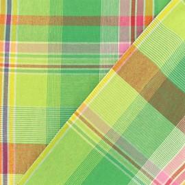 Madras B checked cotton fabric - anise green x 10cm