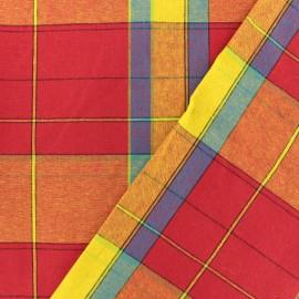 Tissu Madras Checks C - rouge/orange x 10cm