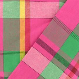 Madras D checked cotton fabric - fuchsia x 10cm