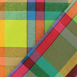 Madras E checked cotton fabric - multi x 10cm