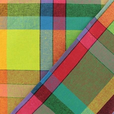Madras E checked cotton fabric - multi x 10cm