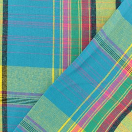 Madras F checked cotton fabric - blue x 10cm