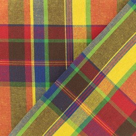Madras G checked cotton fabric - multi x 10cm