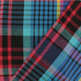 Madras H checked cotton fabric - blue/fuchsia x 10cm