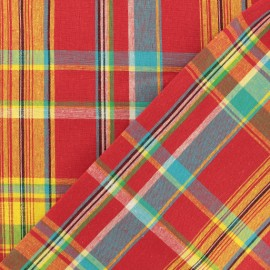 Madras I checked cotton fabric - red x 10cm