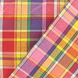 Madras J checked cotton fabric - pink/orange x 10cm