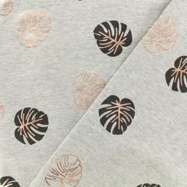 Tissu sweat léger Feuille métallisée - gris x 10 cm