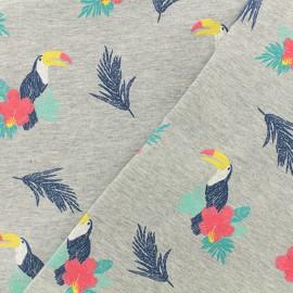 Tissu sweat léger Puff Toucan - gris x 20 cm