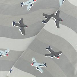 Tissu jersey Vague d'avions - gris x 10cm