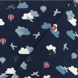 Jersey fabric - navy Traffic aérien x 10cm