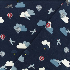 Tissu jersey Traffic aérien  - bleu marine  x 10cm