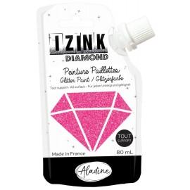 Peinture paillettes tout support Izink Diamond 80ml - fuchsia
