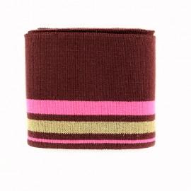 Bande bord côte rayures coton Oeko-tex  (108x7cm) - bordeaux/fuchsia