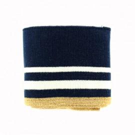 Bande bord côte rayures coton Oeko-tex (108x7cm) - marine/blanc