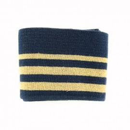 Bande bord côte coton Oeko-tex (108x7cm) - marine/doré