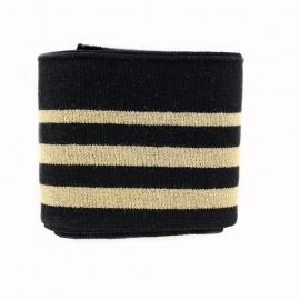 Bande bord côte coton Oeko-tex (108x7cm) - noir/doré