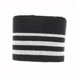 Bande bord côte coton Oeko-tex (108x7cm) - noir/argent