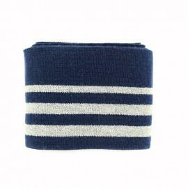 Bande bord côte coton Oeko-tex (108x7cm) - marine/argent