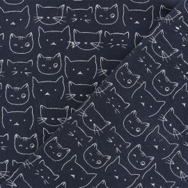 Flannel Fabric - Navy blue Chaton x 10 cm