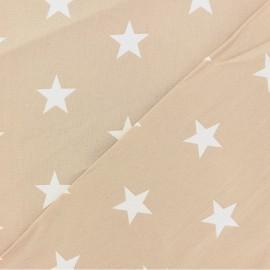 Tissu Oeko-tex coton Grandes Etoiles - blanc/ficelle x 10cm