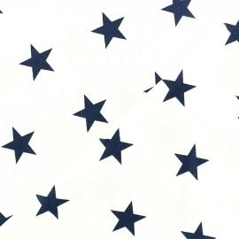 Tissu Oeko-tex coton Grandes Etoiles - marine/blanc x 10cm