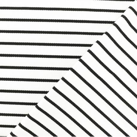 Tissu Jersey piqué Rayures noires - blanc x 10cm