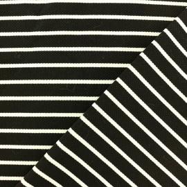 Tissu Jersey piqué Rayures blanches - noir x 10cm