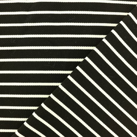 Quilted Jersey Fabric - black white stripes x 10cm